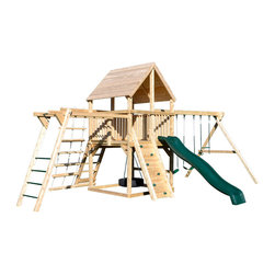 Triumph Play Systems - Triumph Play Systems Bailey Climber with Options - A grand scale and 100% natural Northern White Cedar make this swing set a perfect destination for fun. The Bailey Climber with Options is loaded with a three-position swing beam with adjustable legs to accommodate un-level yards, two belt swings, a trapeze swing, a 360-degree tire swing, monkey bars, rope ladder, wood roof and a 10-foot wave slide. Made in the USA from domestically grown Northern White Cedar.  Assembly required.