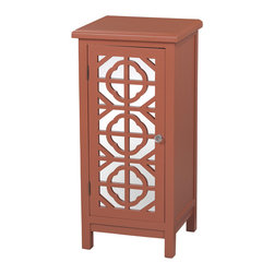 Sterling Industries - Vivienne Single Door Mirrored Cabinet in Burnt Orange - The Vivienne single door burnt orange mirrored cabinet by Sterling brings a Mediterranean style to your Decor for casual living. Featuring two mirrored panels underneath seamless/Symmetrically carved Mediterranean motif cut-outs, this is a perfect storage cabinet for a small space. The cabinet has one shelf. Stands 33 inches tall x 16 inches wide and 14 inches deep. An acrylic knob adds to its unique charm.