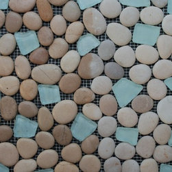 Sea Glass Tile And Pebbles Spring Brook Mosaic Blend, Box - Sold by the box 10 sheets