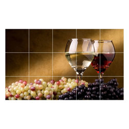 Picture-Tiles, LLC - Wine Grapes Picture Kitchen Bathroom Ceramic Tile Mural  18 x 30 - * Wine Grapes Picture Kitchen Bathroom Ceramic Tile Mural 1548