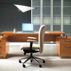 Tai Wood Executive Office Desk by Uffix - A glimpse at its perfectly balanced structure with two squarish designer pedestals is enough to set your heart to a flutter. Satisfying your desire to possess contemporary home office furniture,the Tai desk makes a careful composition consisting of a lavish work top with two fixed pedestals at each end.