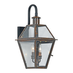 Quoizel - Quoizel RO8411AC Rue De Royal 2 Light Outdoor Wall Lights in Aged Copper - Long Description: From the Charleston Copper Lantern Collection, this piece gives you the historic look of gas lighting, but without the hassle of a propane feed. It is all electric, solid copper and hand riveted, giving your home the romantic, reproduction style of antique gas lights still popular today on many of the charming homes in New Orleans and Charleston.