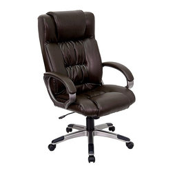 Flash Furniture - Contemporary Executive Leather Office Chair w - As a decision-maker, you'll see how easy it is to select this chair. Executive styling starts with the high back and extra cushioning for neck and shoulder support. Bicast leather upholstery highlights every detail and is matched by the padded curved armrests. Executive leather office chair. High back. Thickly padded seat and back. Double padding on seat and back. Heavy duty nylon loop style arms with titanium finish. Leather padded arm rests. Pneumatic seat height adjustment. Tilt lock mechanism. Heavy duty nylon base with titanium finish and black end caps. Dual wheel casters. Meets or exceeds ANSI/BIFMA standards. Seat: 21 3/4 in. W x 21 1/4 in. D. Back: 21 1/4 in. W x 28 3/4 in. H. Seat Height: 19 3/4 in. - 23.5 in. H. Arm Height: 7 3/4 in. H (from Seat). Overall: 26.5 in. W x 25 in. D x 45.5 in. - 49.25 in. H (44 lbs.)