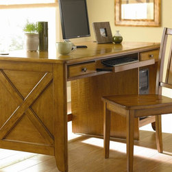 Homelegance - Britanica 60 in. Writing Desk (Oak) - Finish: Oak. Expertly built and designed, this computer desk is perfect for working or studying at home. Elegant detail and quality construction bring character to this inspired collection.