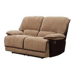 Homelegance - Homelegance Grantham Double Reclining Loveseat in Chocolate and Brown - Ease into your favorite chair and with the pull of a lever let it ease you into a reclining position. The Grantham collection provides the platform to elevate your comfort when you are ready to relax. The reclining mechanism allows for full seat extension. Further enhancing your experience is the wide seating and ultra soft neutral brown wide wale corduroy that features contrasting chocolate trim.