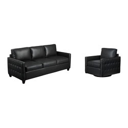 Diamond Sofa - Diamond Sofa Tanner Sofa Swivel Chair Two Piece Set In Black - The Tanner Collection by Diamond Sofa provides chic  retro styling along with comfort and functional ability.  The Tanner Collection is more than just for looks  but also a comfortable set  that will soon become your favorite seat in the house.  The low profile styling with tufted outside panel design will help you to achieve that look you have always wanted.  Perfect scale for lofts  condos  apartments or office settings.  Finished in a supple Black Blended Leather  the Tanner provides an inviting and comforting area for relaxing after a taxing day.  The Tanner Sofa measures 82 inches wide by 32 inches deep by 37 inches high.  The Tanner Swivel Chair measures 32 inches wide by 34 inches deep by 34 inches high.