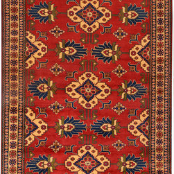 """ALRUG - Handmade Red/Rust Oriental Kargai Rug 6' 7"""" x 9' 10"""" (ft) - This Afghan Kargai design rug is hand-knotted with Wool on Cotton."""