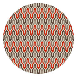 Surya - Contemporary Fallon Round 8' Round Brown, Red Area Rug - The Fallon area rug Collection offers an affordable assortment of Contemporary stylings. Fallon features a blend of natural Brown, Red color. Handmade of 100% Wool the Fallon Collection is an intriguing compliment to any decor.