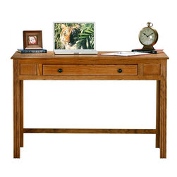 Eagle Industries - Oak Ridge Writing Desk w Combo Keyboard Drawer (Dark Oak) - Finish: Dark Oak. One keyboard and pencil drawer combo. Designed with decorative molding. Fluted detailing and finished back. Warranty: Eagle's products are guaranteed against material defects for one year from date of delivery to the dealer. Made in USA. No assembly required. 47.5 in. W x 23.75 in. D x 32 in. H (68 lbs.)The Oak Ridge collection combines American oak hardwood with updated contemporary styling. Heavy crown molding, sleek lines, fluted side molding, black brushed metal hardware, solid oak frames and solid oak recessed doors give this transitional collection a style all its own