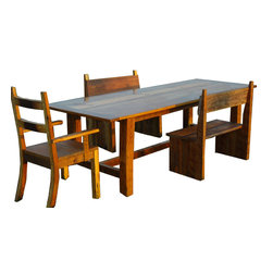 The Rusted Nail LLC - Dining Room Set - Add character to your home with this handcrafted barn wood dining table and chairs, made from salvaged wood from rural Georgia. Two chairs feature mortise and tenon joinery, and two benches flank the table and create a rustic, lived-in look.