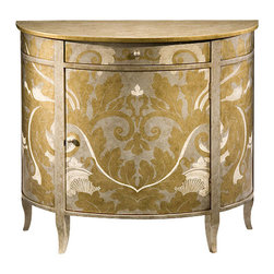 "Inviting Home - Hand-Painted Demilune Cabinet - Demilune cabinet with one door one drawer hand-painted gold silver and ivory finish leaf motif antiqued silver top and one shelf inside; 38-1/2""W x 17""D x 34-3/4""H Hand-painted demilune cabinet with one door one drawer and and one shelf inside. Cabinet hand-pained in gold silver and ivory finish leaf motif."