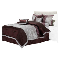Kashmir Bedding Set - Queen - The Kashmir Full Bedding set features a blend of relaxing colors with a beautiful intricate floral design. Set includes a comforter, bed skirt, two pillow shams, two euro shams and three different types of throw pillows.
