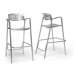 Wholesale Interiors - Ethan Modern Aluminum Bar Stools, Set of 2 - Add shine and a contemporary flair to your home with this sturdy but lightweight modern bar stool. It is constructed with a durable aluminum frame. Attached to the bottom of each leg is a plastic foot, which helps to protect flooring from scratches or damage. This contemporary stool is made in China, requires assembly, and should be cleaned with mild detergent and water. A matching dining chair is also available (sold separately). Seat dimensions: 31.75 inches high x 19.5 inches wide x 16 inches deep. Overall Dimensions: 44.5 inches high x 22.5 inches wide x 28.5 inches long.