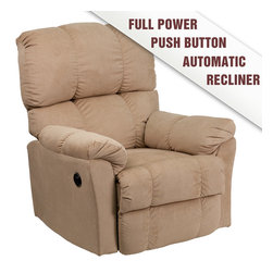 Flash Furniture - Contemporary Top Hat Coffee Microfiber Power Recliner - Contemporary Top Hat Coffee Microfiber Power Recliner