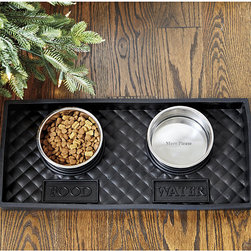 """Ballard Designs - Quilted Rubber Pet Food Tray with Bowl - Our Quilted Pet Food Tray turns kibble into a four-paw dining experience. Made of virtually indestructible black rubber with 2""""-high sides to keep spills contained and features the words """"Eat"""" and """"Drink"""" under their respective bowl placements. Stainless metal bowls fit snuggly into the molded rings and say """"More Please"""" in the bottom.Pet Food Tray with Bowls features:Available in three sizes to accommodate all size pets. Tray rinses clean with a hose. Imported. Fits our pet food tray stand- AJ169 (sold separately)."""
