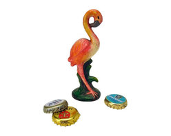 EttansPalace - Pink Flamingo Cast Iron Bottle Opener - Pretty in pink, our flamingo sets the stage as a timelessly stylish antique replica sure to open soda and beer bottles with vintage panache! Hand-crafted exclusively for using the time-honored sand cast method, this antique replica cast iron bottle opener, free-standing Pink Flamingo figurine is hand-painted to capture vintage retro kitsch details from its curved beak to the tall grass that disguises its clever bottle opener.