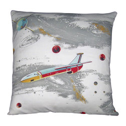 "MId Century Home USA - Atomic Pillow Cover Barkcloth Rocket Space Age - This pillow cover (Fly Me To The Moon II) is soooo 1950's, when people dreamed of flying to the moon. The design is epic and very rare. The fabric is nicely textured, medium weight 1950's barkcloth.  Watch for this pillow on the new ABC TV series ""Astronauts Wives' Club"" in November! Light blue, red, gray and light gold sit on an off white background. The back is a coordinating red duck cloth canvas. The seams are professionally serged to prevent fraying. The pillow insert is NOT included. The pillow is 19"" X 19"", use an 20"" pillow insert to ensure a very plump pillow."