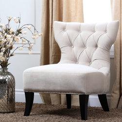 Abbyson Living - Abbyson Living Sedona Light Cream Microsuede Nailhead Chair - This ivory nailhead chair is upholstered in a comfortable microsuede fabric that is both luxurious and chic. The armless design allows for more versatility and leg room,while saving space to make it perfect for apartments or other small spaces.