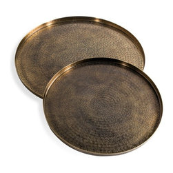 Interlude - Interlude Adele Trays - Set of 2 - A hammered surface gives these brass trays a handcrafted feel to deliver a warm, artisanal accessory.