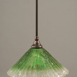 Toltec Lighting - Black Copper Stem Mini Pendant with Kiwi Green Crystal Glass - - 12-Inch Kiwi Green Crystal Glass  - Bulbs not included  - Comes with 1-6-Inch, 2-12-Inch, and 1-18-Inch stem sections  - Comes with a hang straight swivel Toltec Lighting - 23-BC-447