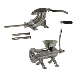 Buffalo Tools - Sportsman Series Stainless Steel Meat Processing Set - Stainless Steel Meat Processing Set by Sportsman Series Process your own sausage, bratwurst and hamburgers with ease using the Sportsman Series Stainless Steel Meat Processing Set, which includes a 5 Lb Stainless Steel Sausage Stuffer and a #22 Stainless Steel Meat Grinder. Use your own casing for homemade sausage, pepperoni and bratwurst, and add your own spices and seasonings to make each recipe just the way you like it. These are great tools for any home butcher or hunter to process their fresh caught meat at home.  Blend and grind meat with your favorite seasonings using the 5 Lb Meat Grinder for fresh and healthy homemade meals. You can even grind vegetables to prepare great tasting meals. Then use the Sportsman 5 Lb Stainless Steel Sausage Stuffer to make your own snack sticks and summer sausage.  The stainless steel bodies are easy to clean and resist corrosion. Both pieces can be bolted to a table or counter top for stability. The handle of the Sausage Stuffer is detachable for easy storage and includes 3 stainless steel stuffing tubes to make different styles of sausage. The Meat Grinder comes with a #22 grinding plate and cutting knife. 5 lb stainless steel sausage stuffer: stainless steel for easy cleanup Includes 3 stainless steel sausage stuffing tubes, 5 lb capacity Attaches securely to table or counter top, detachable handle #22 stainless steel meat grinder: make your own hamburger, sausage and bratwurst, grind rabbit, venison, pork, beef, chicken and turkey, stainless steel is easy to clean and resists corrosion, secures to table or counter top, Includes 1 cutting knife, 1 cutting plates (Fine 1/4 in.), 3 sausage tubes and a sausage funnel attachment Grinder body measures 9 inches l x 5.25 inches w x 7 inches h, 7.5 inch long handle