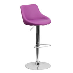 Flash Furniture - Flash Furniture Contemporary Vinyl Bucket Seat Adjustable Height Bar Stool - This dual purpose stool easily adjusts from counter to bar height. The bucket seat design will make this a great accent chair around the bar area or kitchen. The easy to clean vinyl upholstery is an added bonus when stool is used regularly. The height adjustable swivel seat adjusts from counter to bar height with the handle located below the seat. The chrome footrest supports your feet while also providing a contemporary chic design. [CH-82028-MOD-PUR-GG]