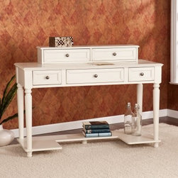Southern Enterprises Deitrich Desk - White - Classic elegance and modern convenience team up in the Southern Enterprises Deitrich Desk - White. This white desk and hutch combo is a superb addition to your home office. You'll love the generous storage space and and large work area. The hint of pastoral style is evident in the desk's simple but beautiful details. The molded edges, and rounded leg details complement the inset drawer fronts perfectly. The charming hutch can be used directly on the desk or mounted to the wall above it.About SEI (Southern Enterprises, Inc.)This item is manufactured by Southern Enterprises or SEI. Southern Enterprises is a wholesale furniture accessory import company based in Dallas, Texas. Founded in 1976, SEI offers innovative designs, exceptional customer service, and fast shipping from its main Dallas location. It provides quality products ranging from dinettes to home office and more. SEI is constantly evolving processes to ensure that you receive top-quality furniture with easy-to-follow instruction sheets. SEI stands behind its products and service with utmost confidence.