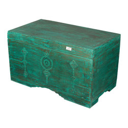 Sierra Living Concepts - Rustic Reclaimed Wood Emerald Green 3-Compartment Storage Trunk Chest - Bring the luck of the Irish home with our Emerald Green Coffee Table Chest.