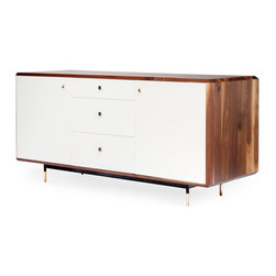 De JONG & Co. - Mandelbrot Credenza - Modern credenza in black walnut with white polyester panels and solid bronze pulls and feet.