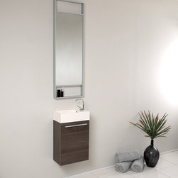 Fresca - Fresca Pulito Small Gray Oak Modern Bathroom Vanity w/ Tall Mirror - Sleek, compact and contemporary, the Fresca Pulito Gray Oak Modern Bathroom Vanity, model FVN8002GO, adds a lot of style to small powder rooms. The floating design saves valuable floor space.This wall-mounted small bathroom vanity features a horizontal integrated sink with a solid brass, chrome-finished single-hole faucet. The vanity's wide cupboard offers linen storage, and the tall mirror has a small shelf for holding personal items.