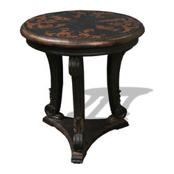 Katy Accent Table, French Black Crackled with Scrolls - Katy Accent Table, French Black Crackled with Scrolls