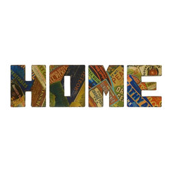 Imax Worldwide Home - Home Sign Wall Decor - Set of 4 - Set of 4. Material: 80% Iron, 20% Paper. 20 in. H x 17 in. W x 2.5 in. . Weight: 11 lbs.With graphic, retro seed packet renderings, the vintage Home wall decor is a set of oversized letters that look great in any country kitchen.