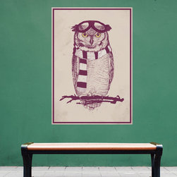 My Wonderful Walls - The Aviator Owl Wall Decal Sticker by Balázs Solti, Small - - Product: owl decal sticker with aviator goggles and scarf