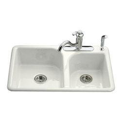KOHLER - KOHLER Efficiency Self-Rimming Kitchen Sink with Three-Hole Fauce Drilling - KOHLER K-5948-3-0 Efficiency Self-Rimming Kitchen Sink with Three-Hole Faucet Drilling in White