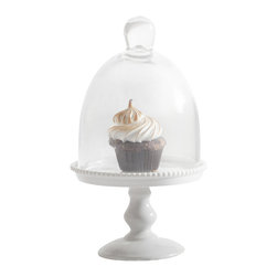 "Rosanna - Small White Porcelain Cupcake Stand with Glass Dome - Serve your playfully decorated cupcakes with a touch of chic and class with our beautifully crafted porcelain dessert pedestal. The glass dome will keep contents oven fresh, while the beaded effect will complete any decorated table and add spark to every day decor. Mix and match......add some color by combining the pink, blue and white porcelain cupcake pedestals. * Arrives in a coordinating gift box, making storage ideal and passing along special * Dimensions: H: 3.25"" W: 4.75"" 4.25"" Serving aria * Dome measures: H: 3.75"" W: 4"""