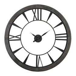 Uttermost - Uttermost Ronan Wall Clock, Large - Ronan Wall Clock, Large by Uttermost Dark, Rustic Bronze Finish Accented With A Rust Gray Frame. Quartz Movement.