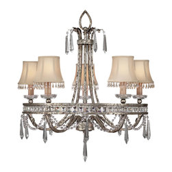 Fine Art Lamps - Winter Palace Chandelier, 323740ST - Delicate as a drifting snowflake, this captivating chandelier will add enchantment to your favorite setting. Steel construction is warmed with an antiqued silver finish and band of channel-set crystals, while further sparkles dangle from the frame and silk shantung shades.