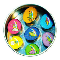 "UFO Glass Gem Magnet Set - Handmade in our studio, each of our glass gem magnets starts with a tiny drawing or watercolor painting which is reduced to size and reproduced. We use super strong ceramic magnets, so they're not only cute, they're functional. This hilarious UFO set is a great gift for any kid, or even an adult with a sense of humor. Set of 7 in a tin. Each magnet is about 3/4 inch wide, the tin is 2.75"" wide. Set of 7 in a tin. Made in the USA."