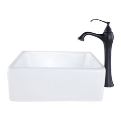 Kraus - Kraus C-KCV-120-15000BN White Square Ceramic Sink and Ventus Faucet - Add a touch of elegance to your bathroom with a ceramic sink combo from Kraus