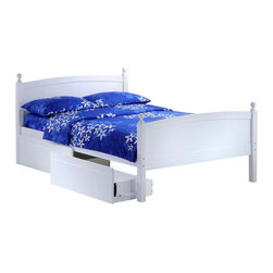 Night & Day Furniture - Licorice Full Bed in White w Storage Drawer - Bed includes head/foot, rails, slats, storage drawer. 100% Malaysian Rubberwood construction. Warranty: 5 years. White finish. 57 in. W x 80.6 in. D x 40.9 in. H (50.7 lbs.)Licorice! Yummy, chewy and so so good. It's sometimes sweet, sometimes salty, sometimes red, but mostly black. Licorice's delightful variations keep it forever a favorite. So naturally, for our timeless Licorice Bed such a tasty confection brings on all its sweet associations.Take care of your kids' needs for beds, bunks and storage with our Zest Bedroom Collection for Night and Day. Smart quality at extraordinary value. We have gone to great lengths to design and engineer this complete line to keep your cost down and your pleasure up.