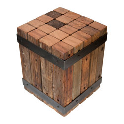 Real Industrial Edge Furniture - -Justin Real- Reclaimed Oak Industrial Beam Bistro Table - This handmade, rustic wood bistro table is truly one of a kind. A sturdy cube made of solid pieces of reclaimed oak with steel supports and base; it's an accent table that will be much admired by your guests.