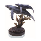 "SPI - Humpback Whales on Marble Base - -Size: 11"" H x 11"" W x 7"" D"