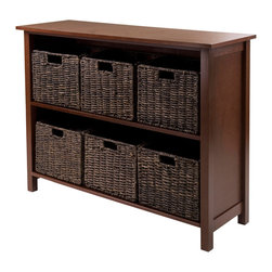 """Winsome Wood - Winsome Wood Granville 7 Piece 2-Section Storage Shelf w/ 6 Foldable Baskets - 7 Piece 2-Section Storage Shelf w/ 6 Foldable Baskets belongs to Granville Collection by Winsome Wood Granville Storage Shelf with Foldable Baskets is perfect to storage and organized your goodies. This set comes with shelf and six foldable baskets in chocolate color made from corn husk. Shelf assembled size is 39""""W x 13""""D x 30""""H. Shelf is made from combination of solid and composite wood. Foldable corn husk basket is 11.02""""W x 10.24""""D x 9.06""""H when open and folded is at 19.88""""W x 9.45""""D x 2.36""""H. Shelf (1), Basket (6)"""