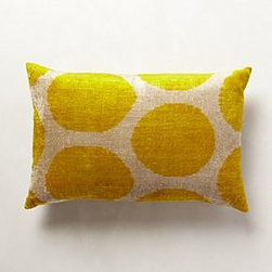 "Anthropologie - Handwoven Tambour Pillow - Bottom zipSilk velvet; down feather fillDry clean15"" x 23""Imported"
