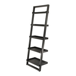 Winsome - Bailey Leaning Shelf 5-Tier - Modern design Shelf. Leaning againt to the wall. Neat and simply design yet functioning. It can be matched with Leaning Desk# 29330 and Airlift Stool # 93329