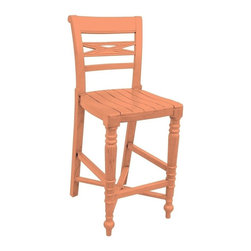 EuroLux Home - New Counter Stool Pink Painted Hardwood - Product Details
