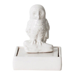 Wisdom Owl Desk Stamp - We're big believers that letter writing isn't dead. Dress yours up with this handsome porcelain stamp, and give friends and family a unique touch when they read your words. And as it's decorated with a fine porcelain owl, it's a gorgeous addition to your desktop all the time.