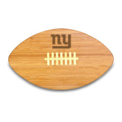 """Picnic Time - New York Giants Touchdown Pro Cutting Board in Natural Wood - The Touchdown! cutting board is a 15"""" x 8.75"""" x 0.75"""" board made of eco-friendly bamboo with a standard football design, with 123 square inches of cutting surface. It can be used as a cutting board or serving tray, or use both sides of the board, one for cutting and the other for serving. The backside of the board is solid dark bamboo. Go long...for the Touchdown! Decoration: Engraved"""