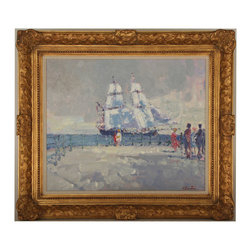Impressionist Harbor - Consigned Vintage Artwork - Gorgeous impressionist vintage painting of a sailing ship viewed by spectators on a leisure day behind wrought iron fence. Great patina. Signed illegibly, lower right. Displayed in a thin linen mat and giltwood frame.