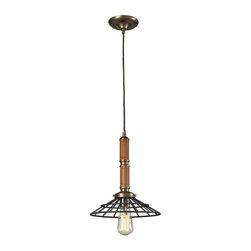 Elk Lighting - Elk Lighting 65138-1 Spun Wood Transitional Pendant Light - Elk Lighting 65138-1 Spun Wood Transitional Pendant Light in Vintage Brass/Vintage Rust
